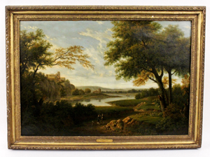 Oil on canvas painting by George Lambert (Br., 1700-1765), a classical landscape with figures (est. $25,000-$40,000).