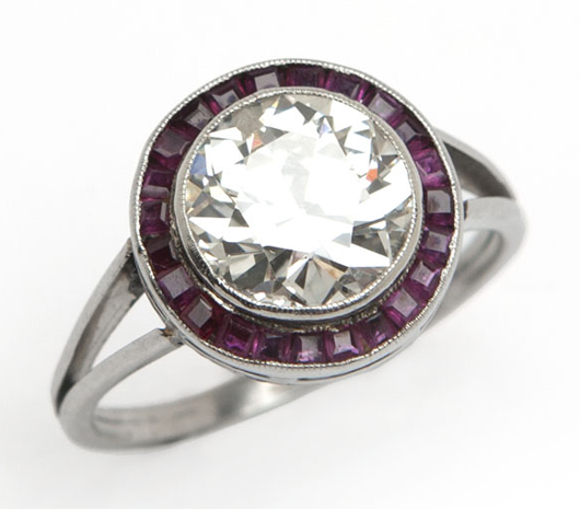 Dating to about 1920 and featuring a 2.35-carat diamond, this platinum and ruby ring is expected to hammer for $9,000 - $11,000. John Moran Auctioneers image.