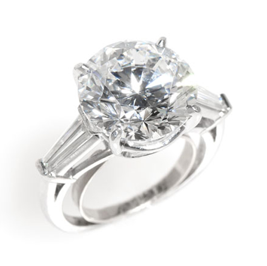 This platinum and diamond ring, with a central 8.54-carat brilliant-cut diamond, is expected to go home with one lucky buyer for between $90,000 and $110,000. John Moran Auctioneers image.