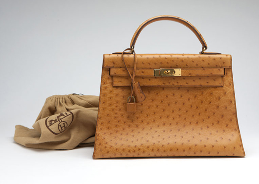 This Hermes Kelly bag, in cognac-colored ostrich leather, is in excellent condition. Estimate: $5,000 - $7,000). John Moran Auctioneers image.
