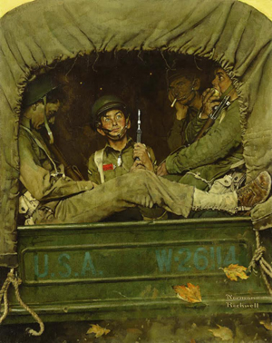 Norman Rockwell, 'Willie Gillis In Convoy,' signed 'Norman Rockwell' (lower right), oil on canvas, 43 by 34 1/4 inches, painted in 1941. Price realized: $1.9 million. Image courtesy Sotheby's.