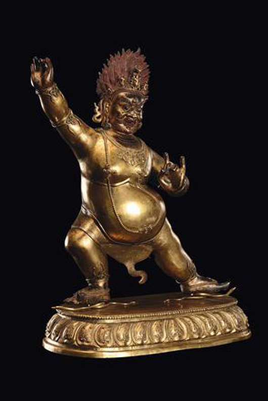 A large and important gilt bronze and copper Vajrapani, China, Qing Dynasty, 18th century, 55 cm high. Estimate: €30,000-50,000. Courtesy Cambi, Genoa.