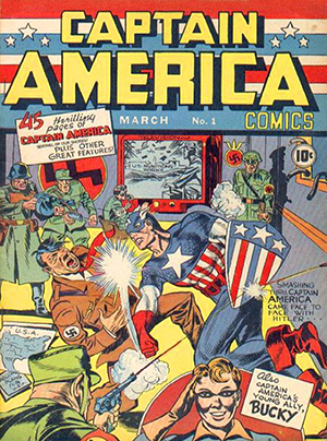 Fair use of low-resolution image of cover of Captain America Comics #1 (Mar, 1941). Published by Timely Comics. Art by Jack Kirby.The copyrighted image is from the comic in which Captain America first appeared, an issue that is therefore of historical significance to the character discussed in the article.