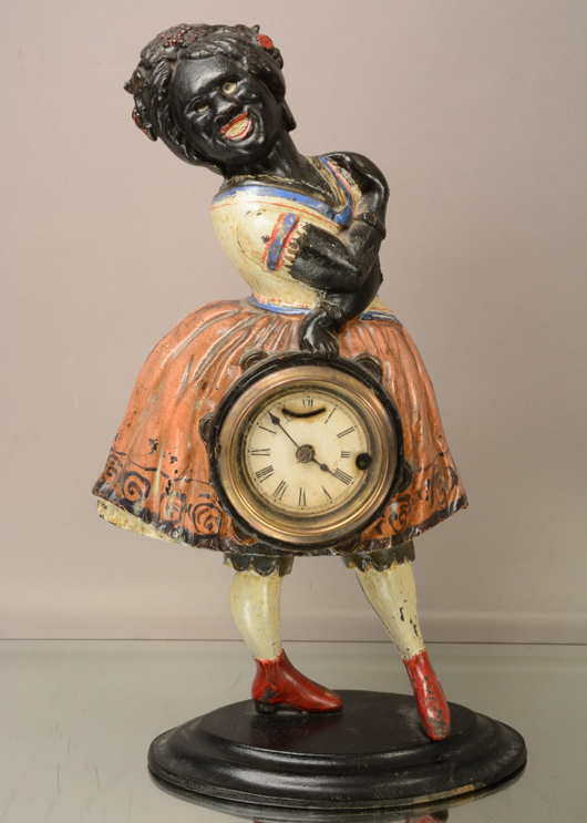 Topsy Blinke black figural clock, cast iron with good original patina, circa 1890, 17 inches. Estimate: $800-$1,400. Bruhns Auction Gallery image.