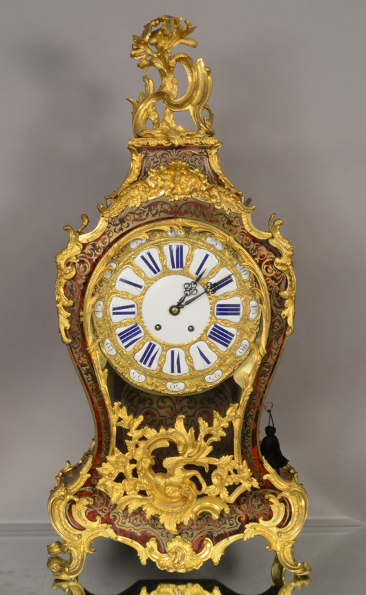 French Louis XV Boulle cartel clock, signed Pons, 34 inches high, excellent condition, circa 1850. Estimate: $3,600-$5,500. Bruhns Auction Gallery image.