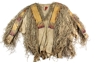 Northern Plains Indian Hidatsa buckskin shirt from the Dakotas with quill and seed bead decoration, fringe and buffalo hair tassels. Estimate: $20,000-30,000. Thomaston Place Auction Galleries image.