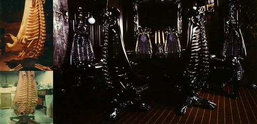 Hans R. Giger 'Alien' chair photo collection taken by H.R. Giger, relating to a set of chairs he designed. Estimate $250-$350. Filthy Gorgeous Art image.