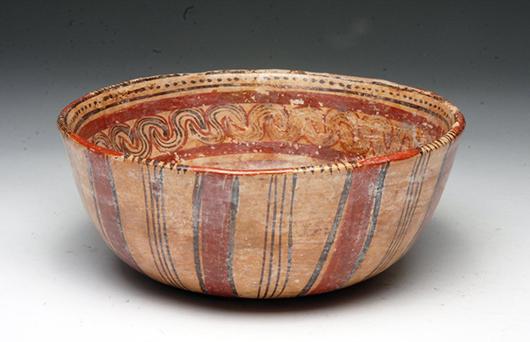 Mayan Copador bowl, circa A.D. 550-900. Estimate: $500-$700. Artemis Gallery Live image.