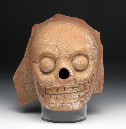 Pre-Columbian Mayan terra cotta skull, circa A.D. 500-800. Estimate: $300-$500. Artemis Gallery Live image.