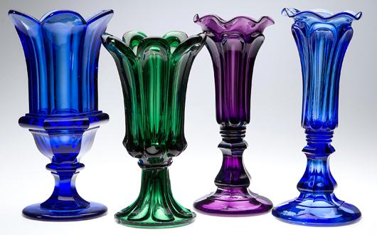 From the Hirschmann collection of over 50 colored vases. Jeffrey S. Evans & Associates image.