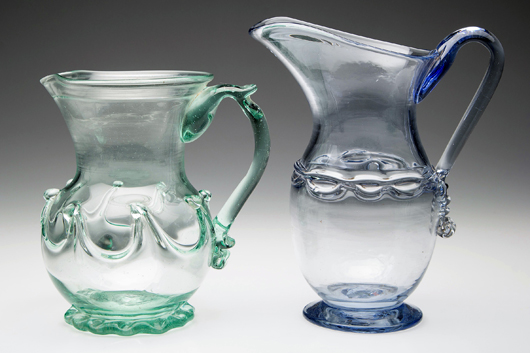 Rare blown wares from a New Jersey collection packed away since the 1950s. Jeffrey S. Evans & Associates image.