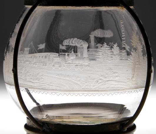 Detail of an exceptional railroad lantern globe commemorating the Transcontinental Railroad, circa 1866. Jeffrey S. Evans & Associates image.