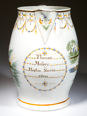 The English Staffordshire pottery pearlware large harvester's dated jug was painted in typical Prattware and inscribed under the spout 'Thomas Mafsey Heaton Norris 1800.' The jug sold for $4,887.50, well above the $2,000-$3,000 estimate (Lot 1).