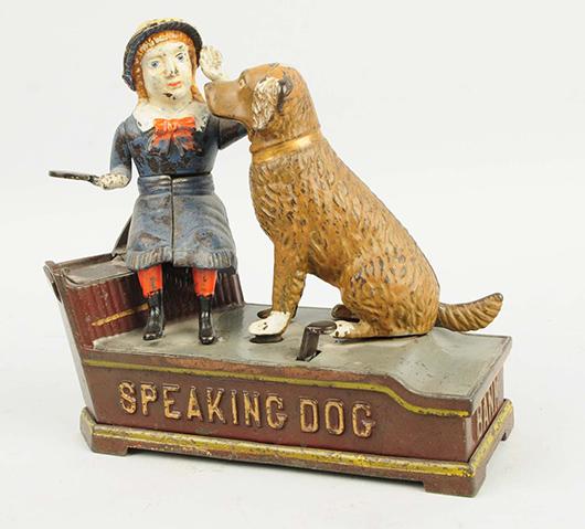 Cast-iron J. & E. Stevens Speaking Dog mechanical bank. Est. $600-$800. Morphy Auctions image