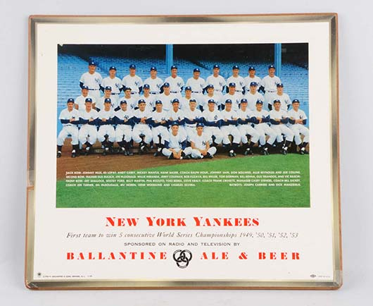 1954 Masonite Ballantine Beer sign picturing the New York Yankees. Est. $200-$300. Morphy Auctions image