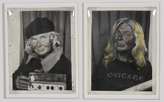 Pair of decorated Lee Godie photographs, circa 1970, black and white with hand-coloring, 4 inches by 5 inches. Price realized: $11,400. Slotin Folk Art Auction image.