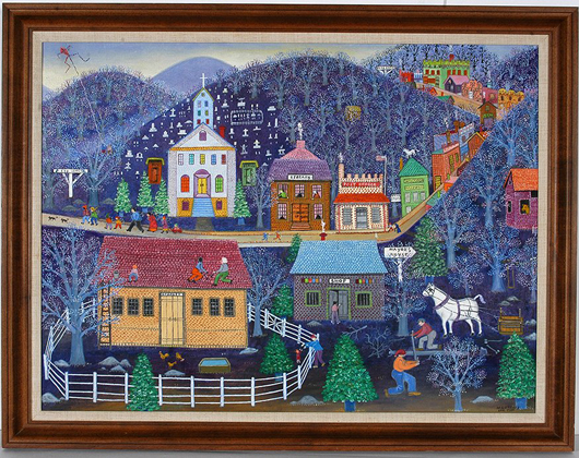 Signed, dated 1980 and titled 'Hurrying Home' oil on canvas painting by Mattie Lou O'Kelley. Price realized: $18,600. Slotin Folk Art Auction image.