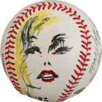 The 1992 Joe DiMaggio signed baseball with a portrait of Marilyn Monroe by LeRoy Neiman. It sold for $95,600. Image courtesy of Heritage Auctions.