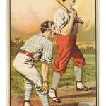 A lithographed poster showing two baseball players competing in an 1884 championship game in Boston sold for $15,000 at an Bonhams auction in New York City last month.