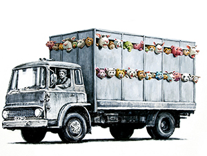 Banksy features a different artwork each day on his website. Today's social commentary is titled 'Meat Truck.' Image courtesy of Banksy.