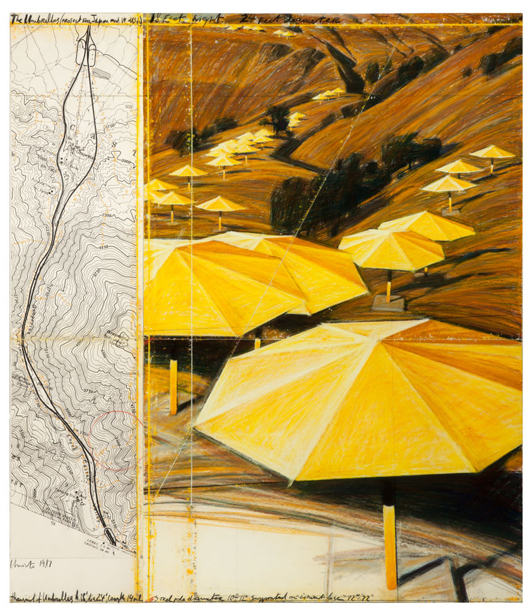 Christo And Jeanne-Claude, 'The Umbrellas (Project for Japan and USA),' 1987, graphite, charcoal, pastel, wax crayon; map and acrylic on paper collage laid down on panel, in two parts, together: 65 x 57 inches (165.1 x 144.8 cm). Estimate: $120,000-$180,000. Heritage Auctions image.