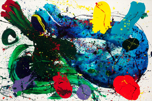 Sam Francis (American, 1923-1994), Untitled, 1988, acrylic on canvas, 79 1/4 x 120 inches (201.3 x 304.8 cm). Estimate: $300,000-$400,000. Heritage Auctions image.
