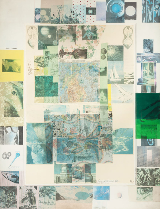 Robert Rauschenberg (American, 1925-2008), 'Rush I' (from the Cloister series), 1980, solvent transfer on paper and collage laid on panel, 98 1/4 x 74 inches (249.7 x 188.0 cm) sight. Estimate: $200,000-$300,000. Heritage Auctions image.