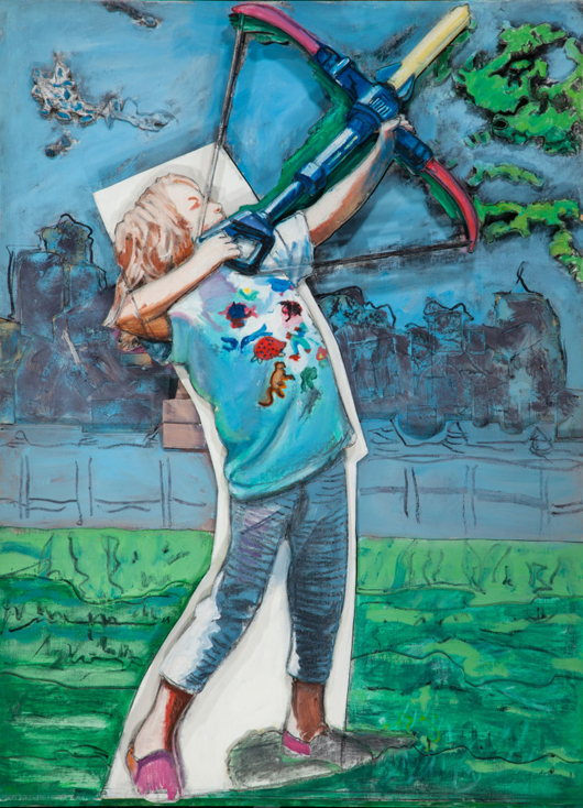Larry Rivers (American, 1925-2002), 'The Young Archer,' 1995, oil on canvas mounted on sculpted foamboard, 56 1/2 x 45 x 5 inches (143.5 x 114.3 x 12.7 cm). Property from the Estate of Ray F. Fleming, Birmingham, Mich. Estimate: $25,000-$35,000. Heritage Auctions image.
