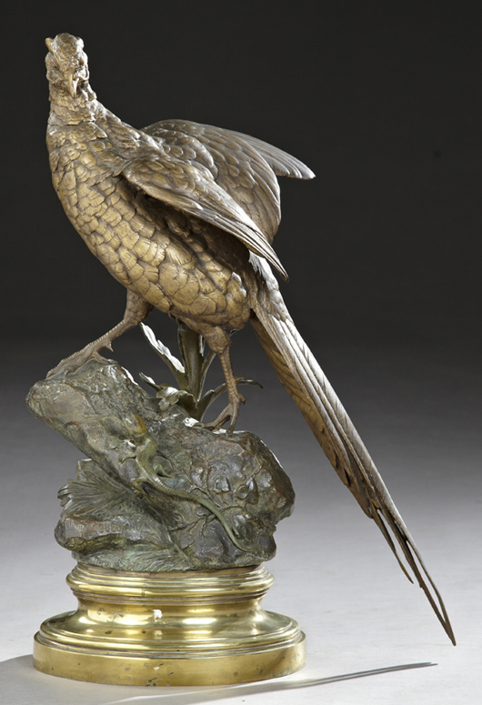 Patinated bronze sculpture on stepped circular brass base by Alfred Dubucand (French, 1828-1894), titled 'Pheasant and Lizard.' Estimate: $4,000-$6,000. Crescent City Auction Gallery image.