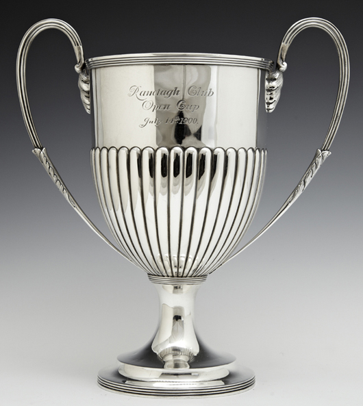 Three pieces of wonderful English sterling silver, such as this loving cup by Daniel and John Welby (London, 1899) will come under the gavel. Crescent City Auction Gallery image.