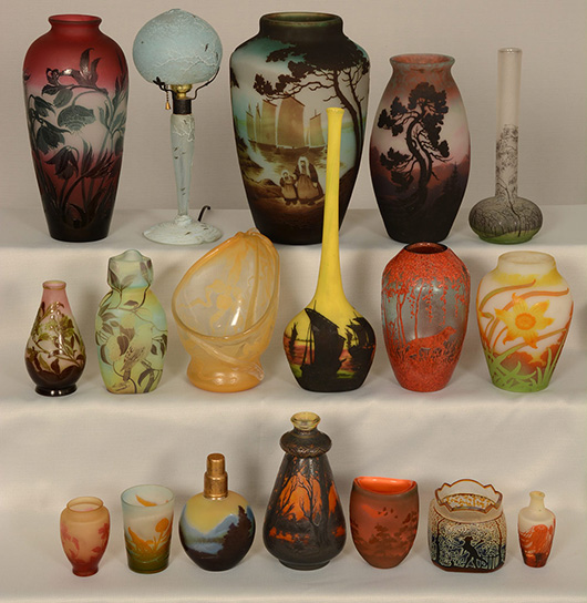 French cameo glass pieces, like these shown, will be sold without reserve. Woody Auction image.