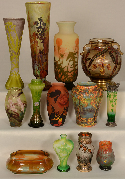 Fans of French cameo glass will be interested with the selection and variety in the auction. Woody Auction image.