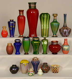 The auction is packed with many Tiffany art glass pieces, especially Favrile vases. Woody Auction image.