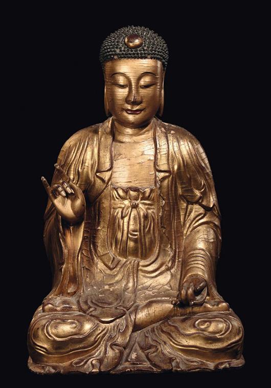 Important gilt wood Buddha, China, Yuan Dynasty, 95x58x50cm (38 x 23.2 x 20 inches.) Estimate: €30,000-€50,000, $27,364-$68,394. Courtesy Cambi, Genoa.