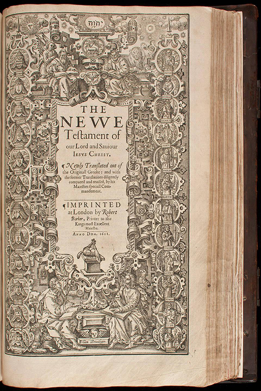 First edition King James Holy Bible, 1611. Estimate: $100,000-$150,000. PBA Galleries image.