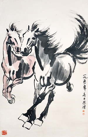 Lot 32, 'Galloping Horses' by Xu Beihong (1895-1953), a monochromatic ink-on-paper scroll, dated 1951. It bears the provenance of a Toronto collector and carries an estimate of $300,000 to $400,000. Gianguan Auctions image.