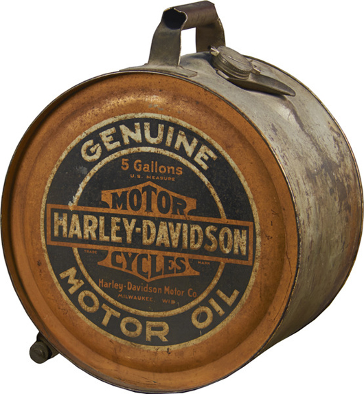 Harley Davidson 5-gallon metal motor oil can. Price realized: $6,000. Victorian Casino Antiques image.