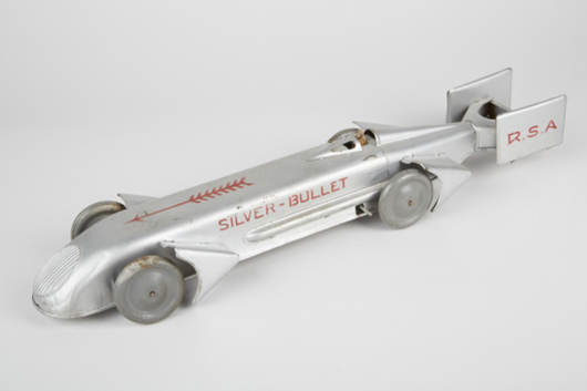 Guntherman 'Silver Bullet' tin windup race car. Price realized: $2,400. Victorian Casino Antiques image.