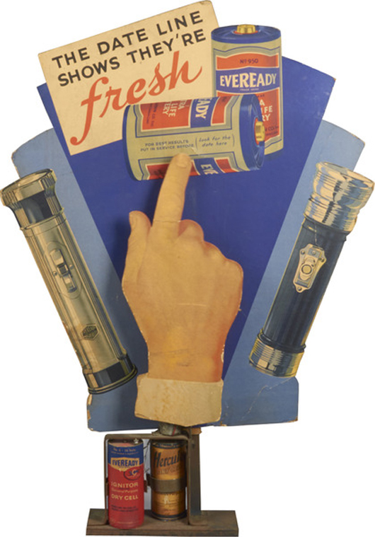 Mechanical Eveready batteries store display. Price realized: $5,700. Victorian Casino Antiques image.v