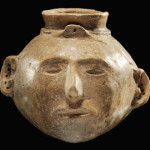 Grayware headpot, Late Mississippian, 600 B.P., Golden Lake Site, Mississippi County, Arkansas, $78,000. Morphy Auctions image