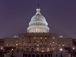 The U.S. Capitol at night. Photo by David Iliff. License: CC-BY-SA 3.0. This file is licensed under the Creative Commons Attribution-Share Alike 3.0 Unported license.