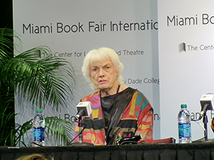 Bunny Yeager, American photographer and former pin-up model, at the Miami Book Fair International 2012. Image by Guillermo Ramos Flamerich. This file is licensed under the Creative Commons Attribution-Share Alike 3.0 Unported license.