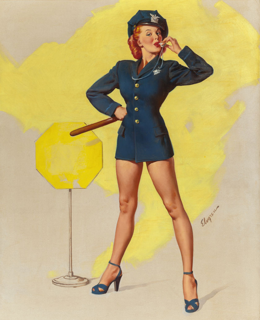 Gil Elvgren (American, 1914-1980), 'A Real Stopper (Now I'll do the Whistling),' 1949. Price realized: $68,750. Heritage Auctions image.