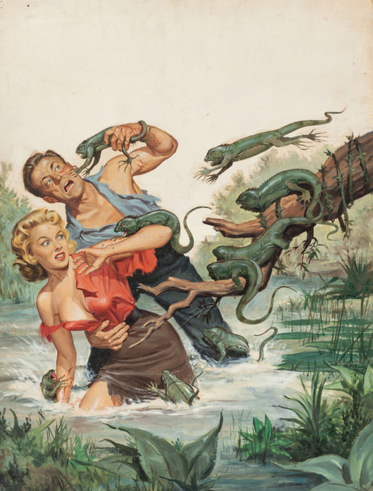Will Hulsey (American, 20th century), 'Lizards From Hell,' 'True Men Stories' pulp magazine cover, February 1957. Price realized: $17,500. Heritage Auctions image.