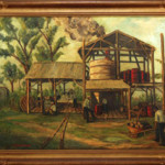 Massachusetts artist May S. Clinedinst (1887-1960) painting of a Florida sugar cane mill. Image courtesy of LiveAuctioneers.com archive and Meyers' Antiques Auction Gallery.