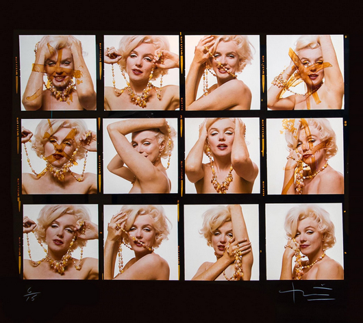 Bert Stern (1929-2013), 'Marilyn Monroe, June 1962,' oversized digital pigment contact print, printed later, signed and editioned 6/15. Estimate: £7,000-£9,000. Dreweatts & Bloomsbury Auctions image.