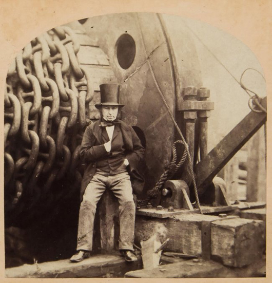 Portrait of English civil engineer Isambard Kingdon Brunel by Robert Howlett (1831-1858) and George Downes, 1857, two albumen prints pasted on card in stereoscopic format. £1,000-£1,500. Dreweatts & Bloomsbury Auctions image.