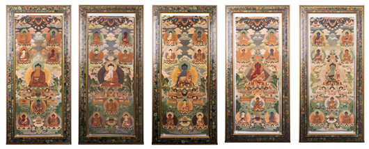 Group of five colorful Kesi woven-silk Tibetan thangka (framed), 18th/19th century, 61 1/4 inches tall. Estimate: $30,000-$45,000. Linwoods Auctions image.