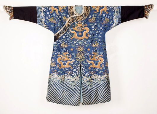 Nineteenth century Chinese embroidered silk robe with three writhing dragons and flaming pearls amid clouds, all above splashing waves, 82 inches long. Estimate: $8,000-$12,000. Linwoods Auctions image.