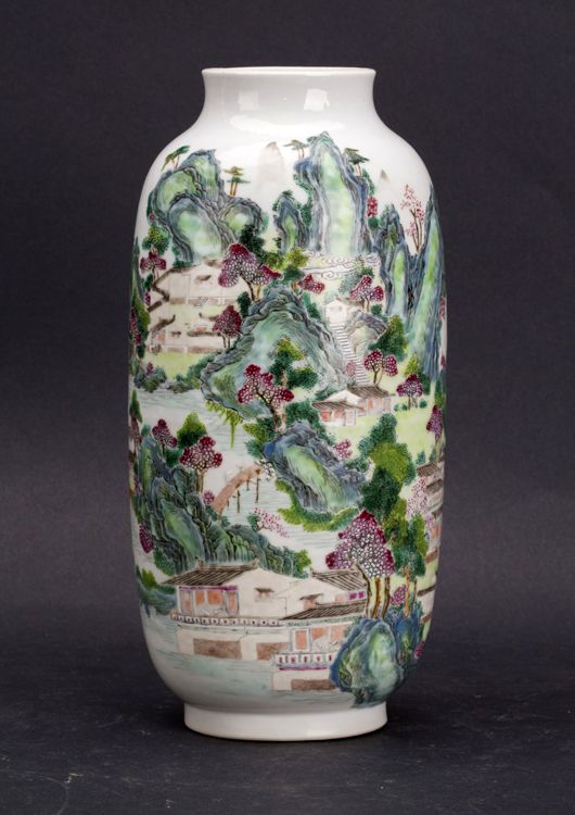 Eighteenth century Famille Rose enameled porcelain vase, 9 1/2 inches tall. Estimate: $5,000-$7,500. Linwoods Auctions image.